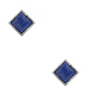 Boucles d'oreilles platine et or, lapis et diamants