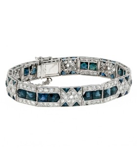 Bracelet platine, diamants et saphirs